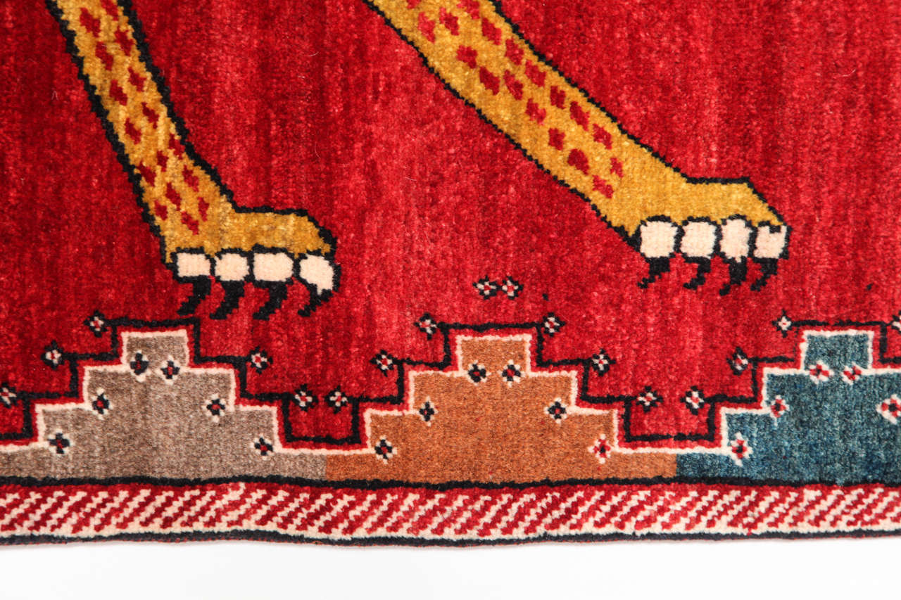 Persian Qashqai Carpet in Pure Wool and Natural Vegetable Dyes, circa 1940 1