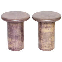 Italian Lavender Goatskin Side Tables