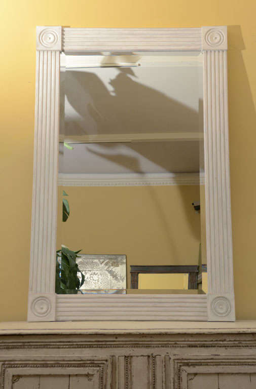Fluted column mirror in limed oak, made in England.