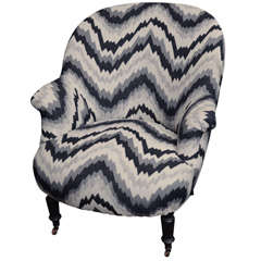 Napoleon Style Chair with Black, Gray and White Chevron Pattern