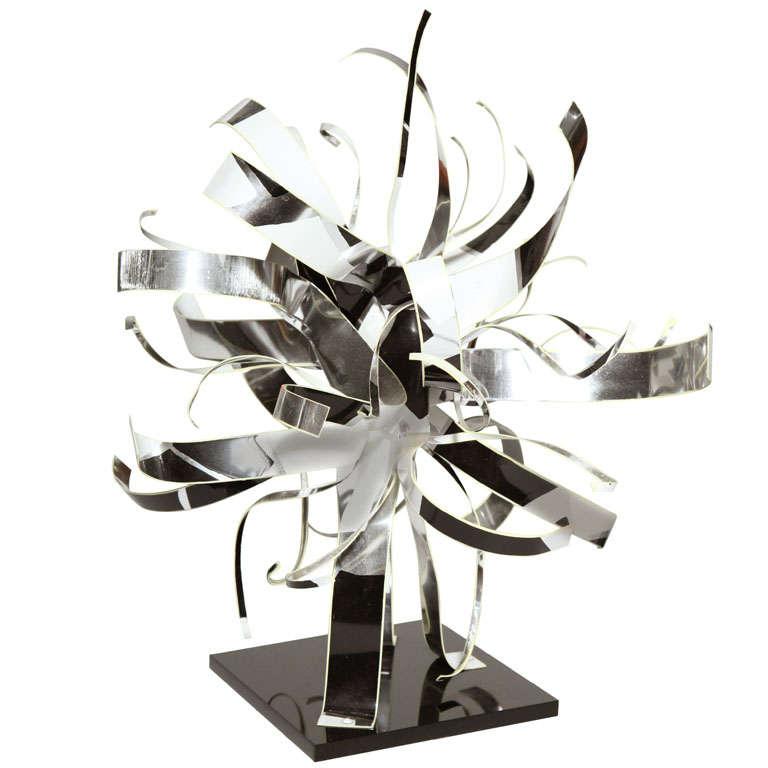 "1989 Dorothy Gillespie Black and White Enamel Aluminum ""Ribbon"" Table Sculpture"