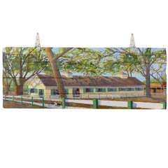Painting on 20th C Original Barn Door by Libby Mathews
