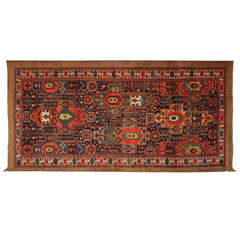 Persian Garden Design Mishan Malayer Carpet in Organic Wool and Dyes, circa 1900