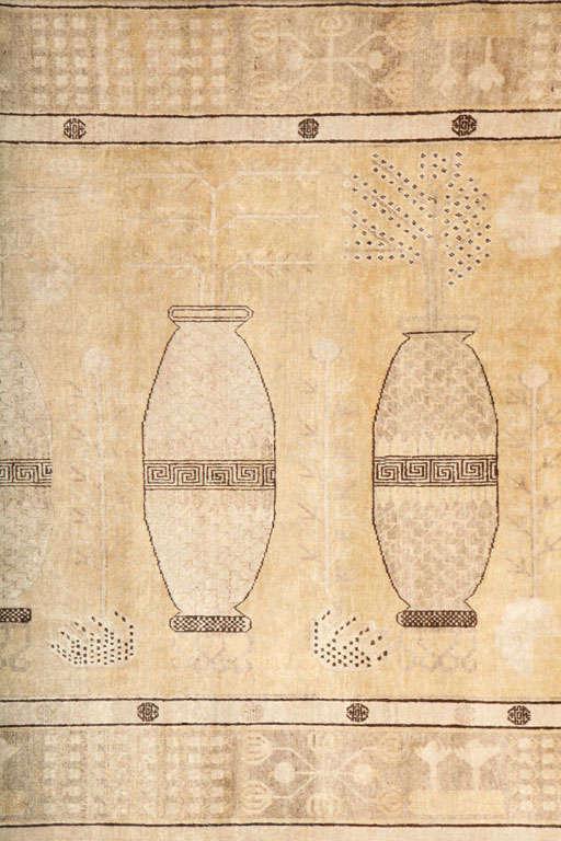 Uzbek White Samarkand Khotan Carpet with Wool Pile and Vegetal Dyes, circa 1870 For Sale