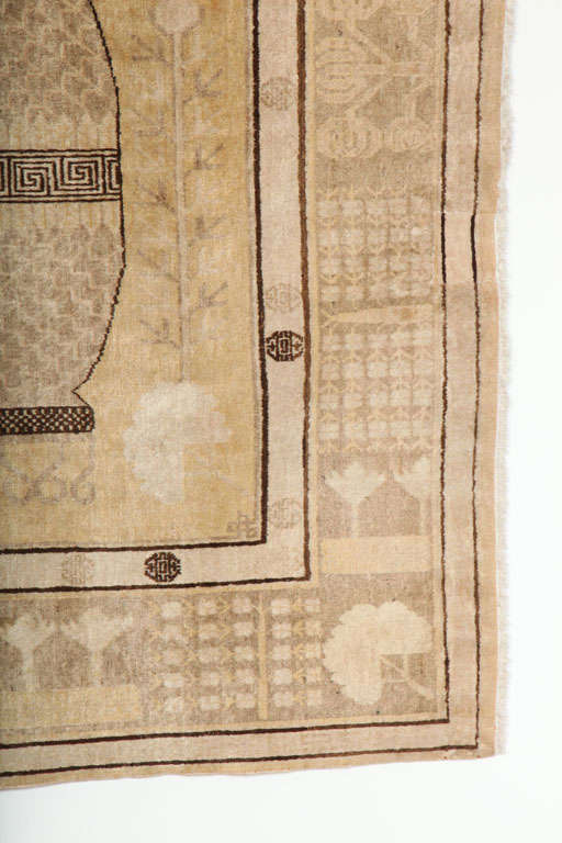 Hand-Knotted White Samarkand Khotan Carpet with Wool Pile and Vegetal Dyes, circa 1870 For Sale