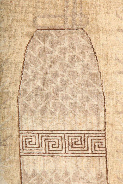 White Samarkand Khotan Carpet with Wool Pile and Vegetal Dyes, circa 1870 For Sale 3