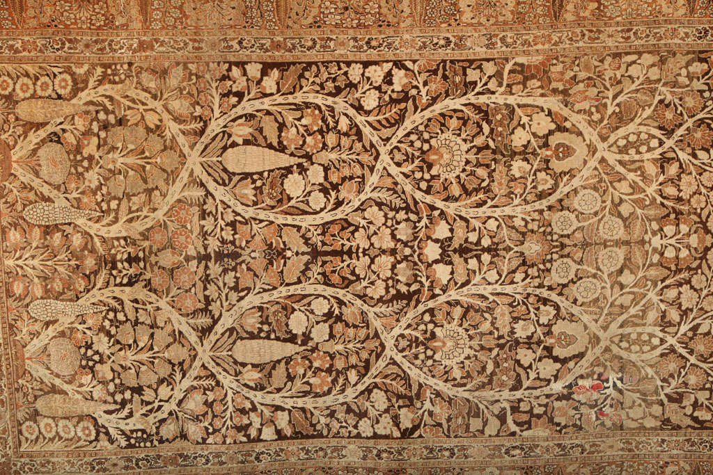 Hand-Knotted 1870 Persian Haji Jalili Tabriz Carpet with Tree of Life Design For Sale