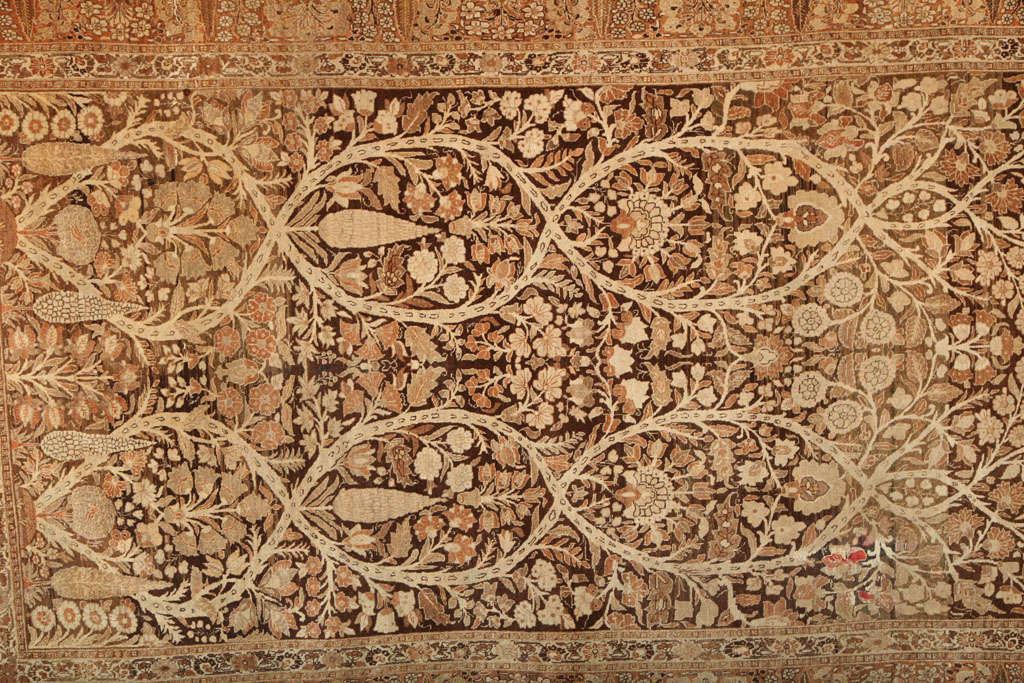 Vegetable Dyed 1870 Persian Haji Jalili Tabriz Carpet with Tree of Life Design For Sale