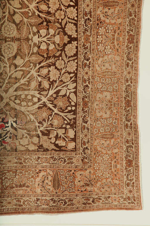 1870 Persian Haji Jalili Tabriz Carpet with Tree of Life Design In Excellent Condition For Sale In New York, NY