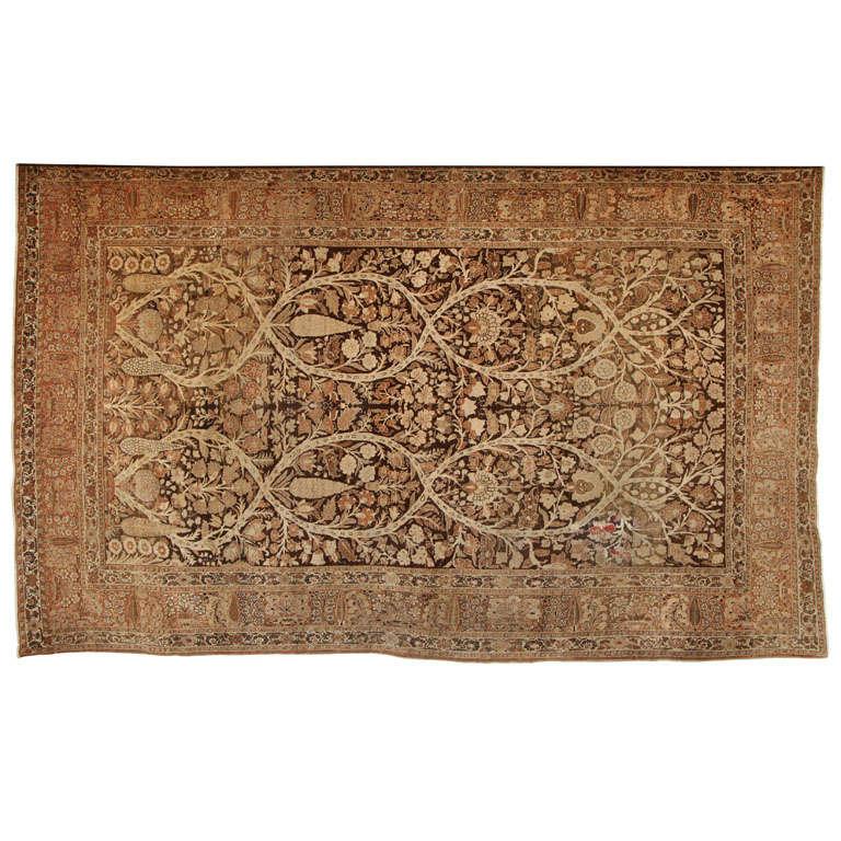 1870 Persian Haji Jalili Tabriz Carpet with Tree of Life Design For Sale