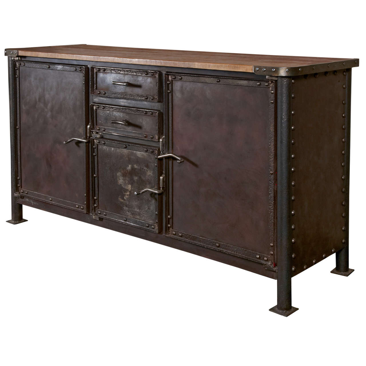 iron and oak industrial buffet at 1stdibs. Black Bedroom Furniture Sets. Home Design Ideas