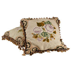 Pair of Floral Embroidered Needlepoint Pillows