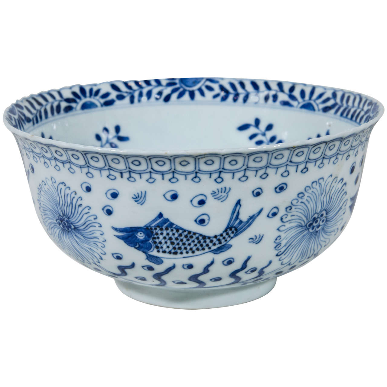 Chinese blue and white bowl with fish at 1stdibs for Chinese fish bowl