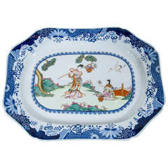 Spode Platter with Chinoiserie Scene and Blue and White Border