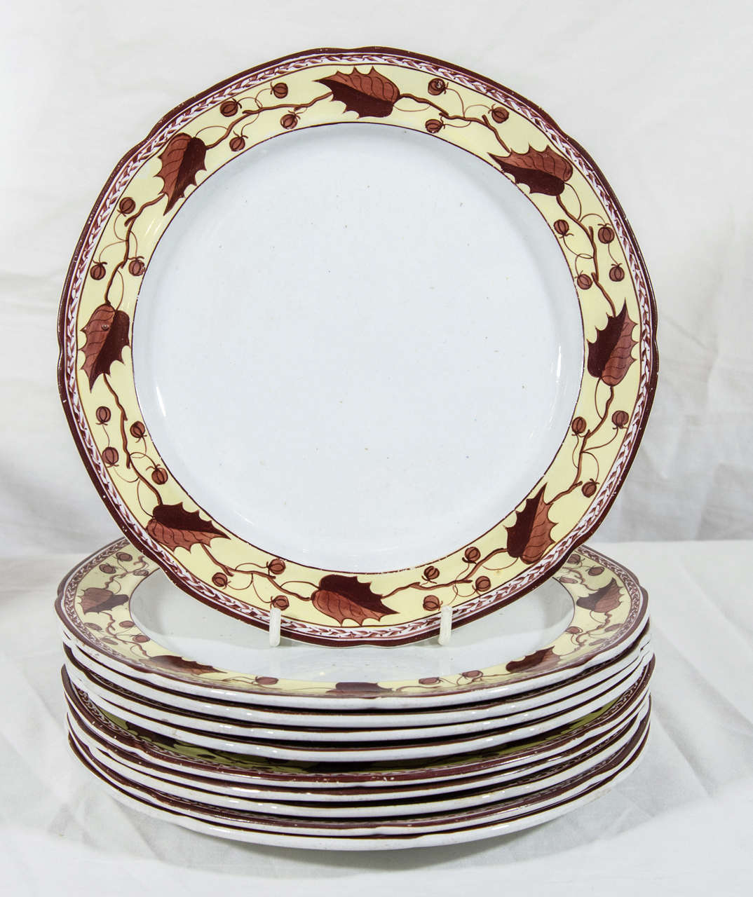 Neoclassical Ten Antique Creamware Dishes Border Brown and Yellow  For Sale