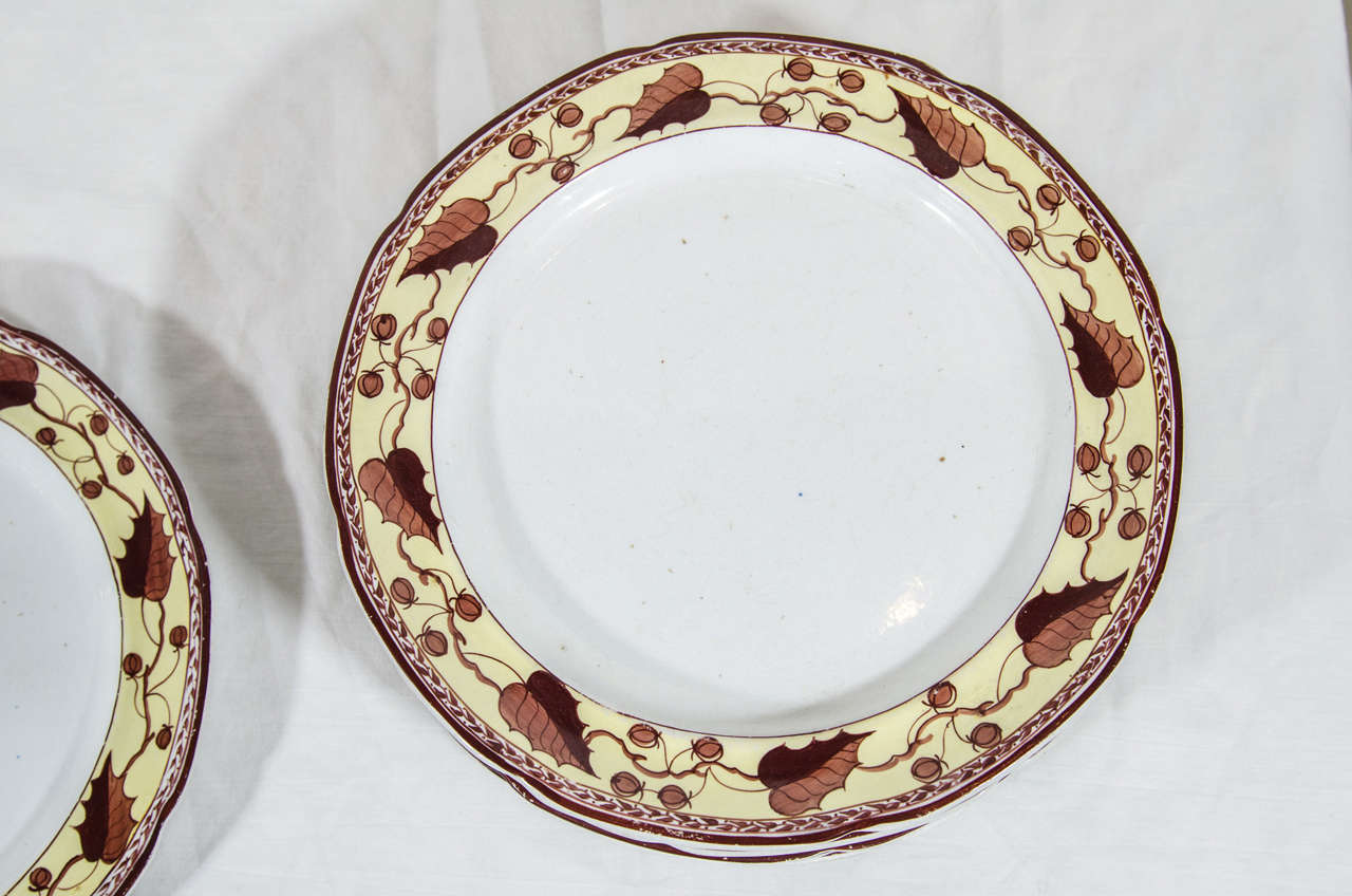 Ten Antique Creamware Dishes Border Brown and Yellow  In Excellent Condition For Sale In New York, NY