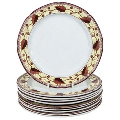 Ten Antique Creamware Dishes Border Brown and Yellow Made circa 1800