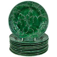Dozen Antique Green Majolica Dessert Dishes