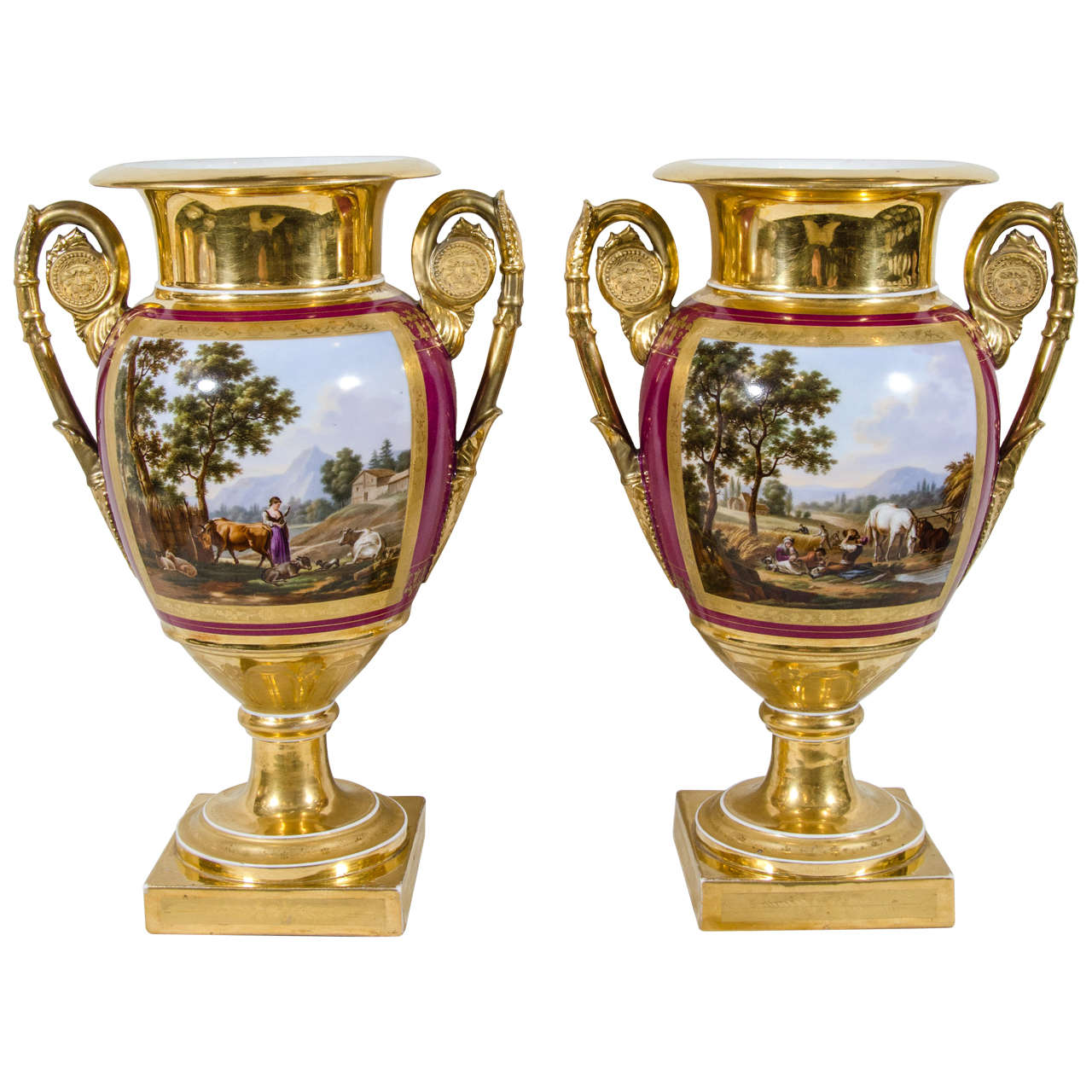 Pair antique french porcelain vases with hand painted landscape pair antique french porcelain vases with hand painted landscape scenes for sale reviewsmspy
