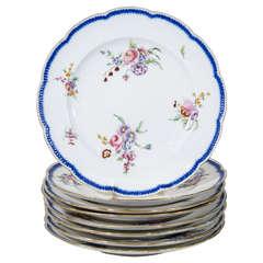 Set Dozen Antique Sèvres Porcelain Dinner Dishes with Feuille-de-Choux Borders