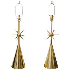 Pair of Brass Table Lamps with Sputnik Detail at Centre