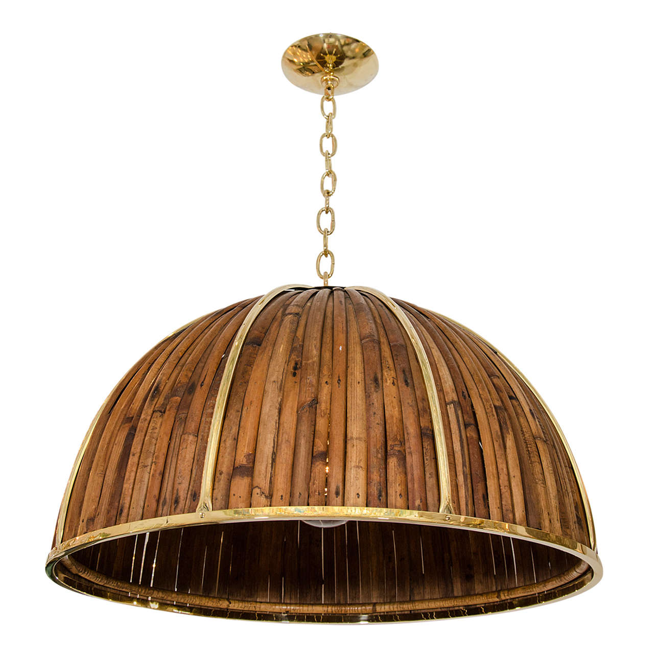 Bamboo And Brass Dome Form Pendant Fixture At 1stdibs