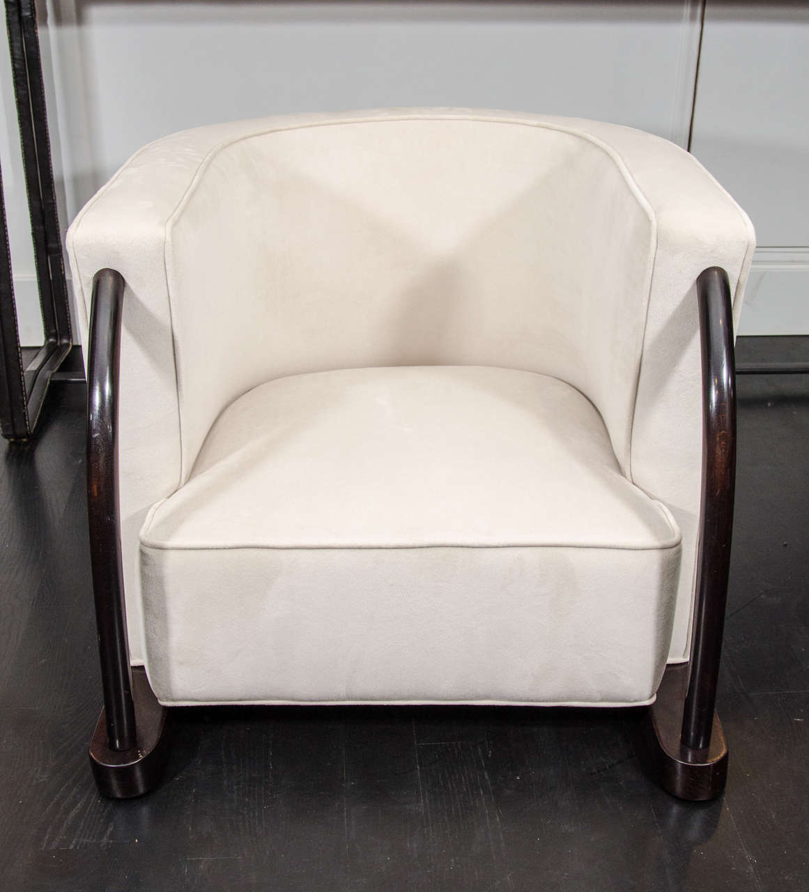 Pair of upholstered chairs in the style of Dominique. Beautifully proportioned and upholstered in cream velvet. Open to custom upholstery on request, COM.
