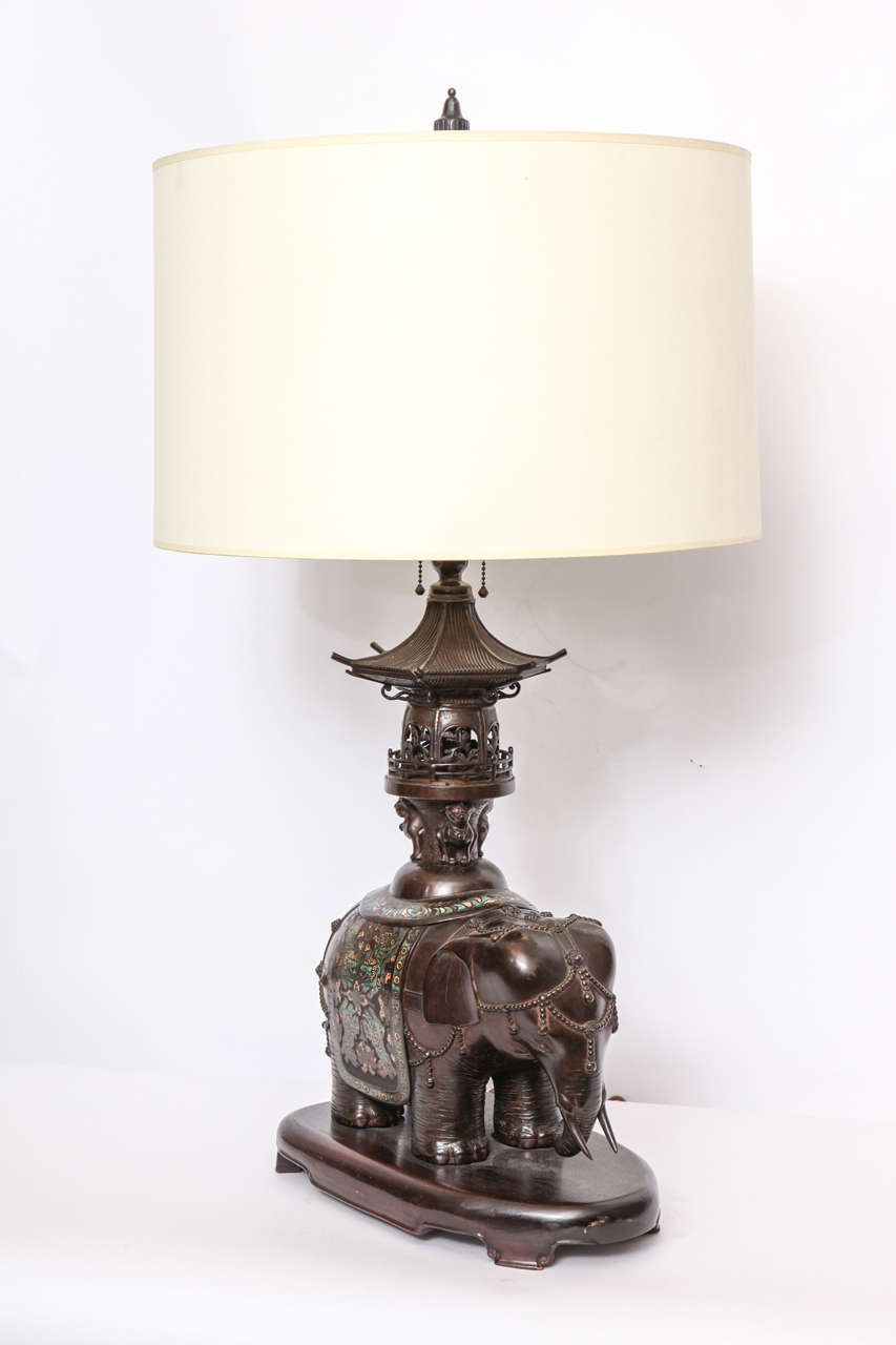 1920s Chinese Patinated Bronze And Cloisonn 233 Table Lamp At