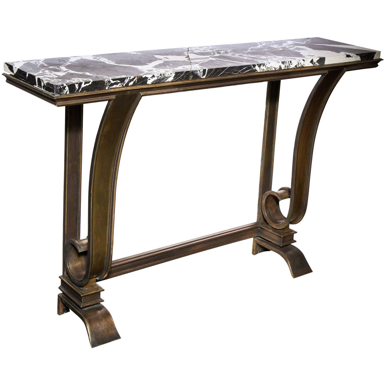 Charmant 1930s French Art Deco, Nickel Iron And Marble Console Table For Sale
