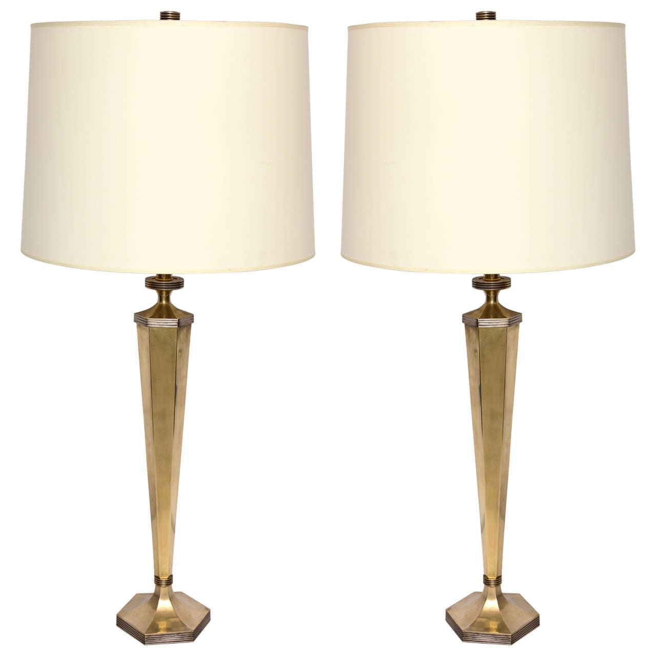 Pair Of 1940s Art Moderne Brass And Silver Table Lamps At