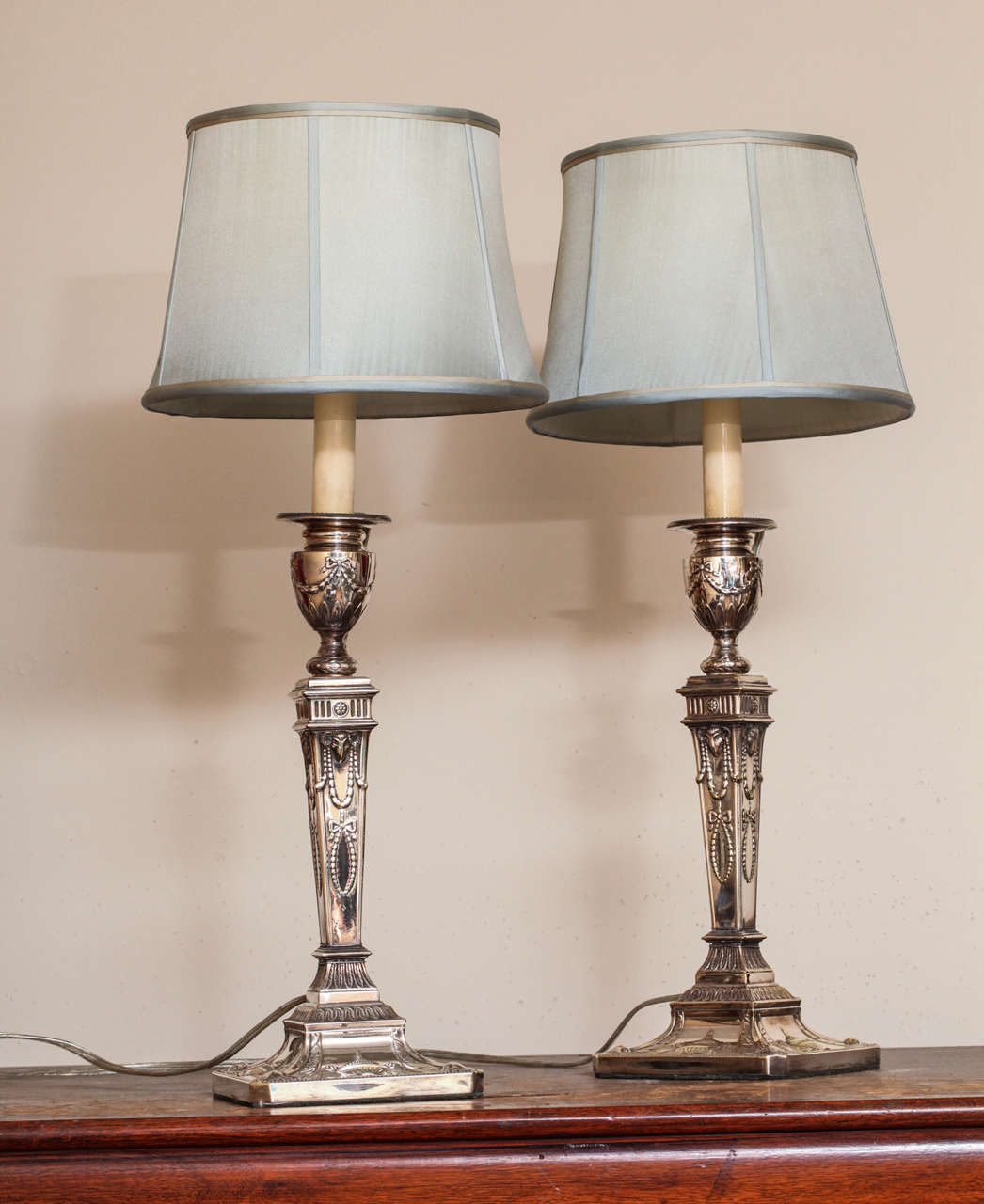 pair of victorian sheffield plated adams style electrified table lamps. Black Bedroom Furniture Sets. Home Design Ideas