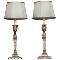 Pair of Victorian Sheffield Plated Adams Style Electrified Table Lamps