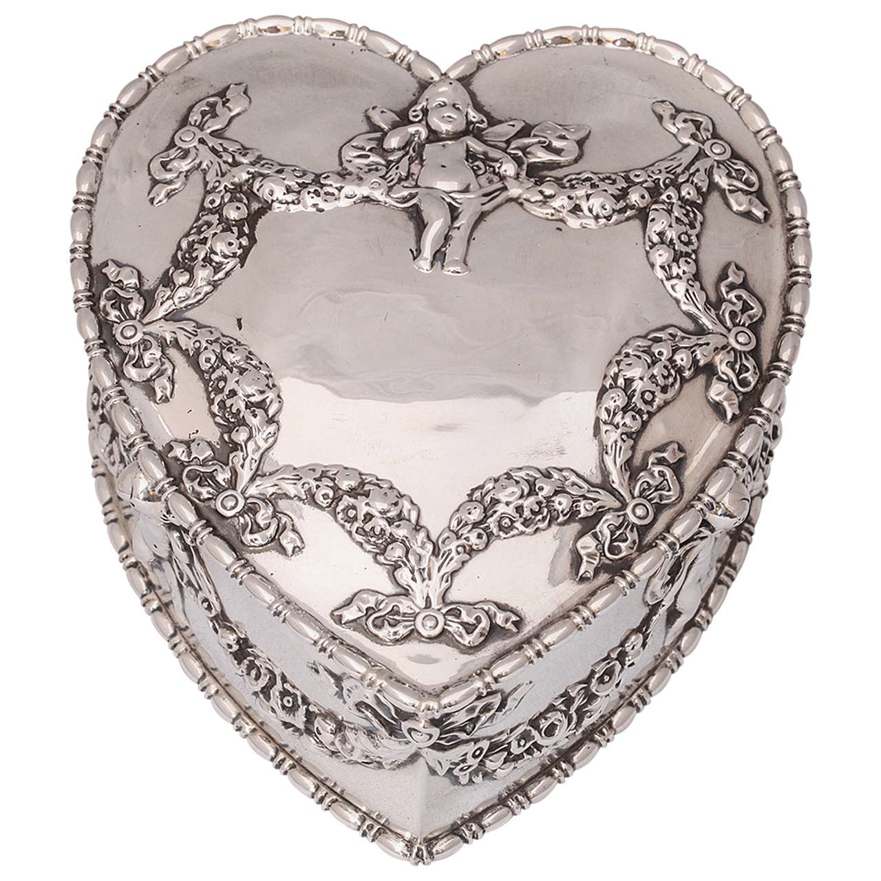 Large Victorian Sterling Silver HeartForm Jewelry Box with Hinged