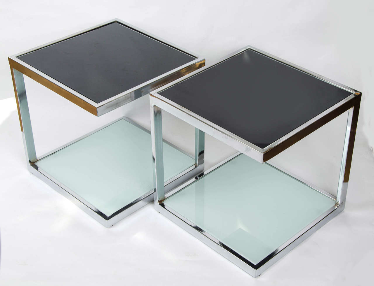 Italian Two Pairs of 1950s Chrome Side Tables For Sale