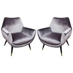 Custom Mid-Century style Armchairs upholstered in Grey Velvet