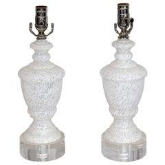 Pair of 1950s White Murano Glass Lamps