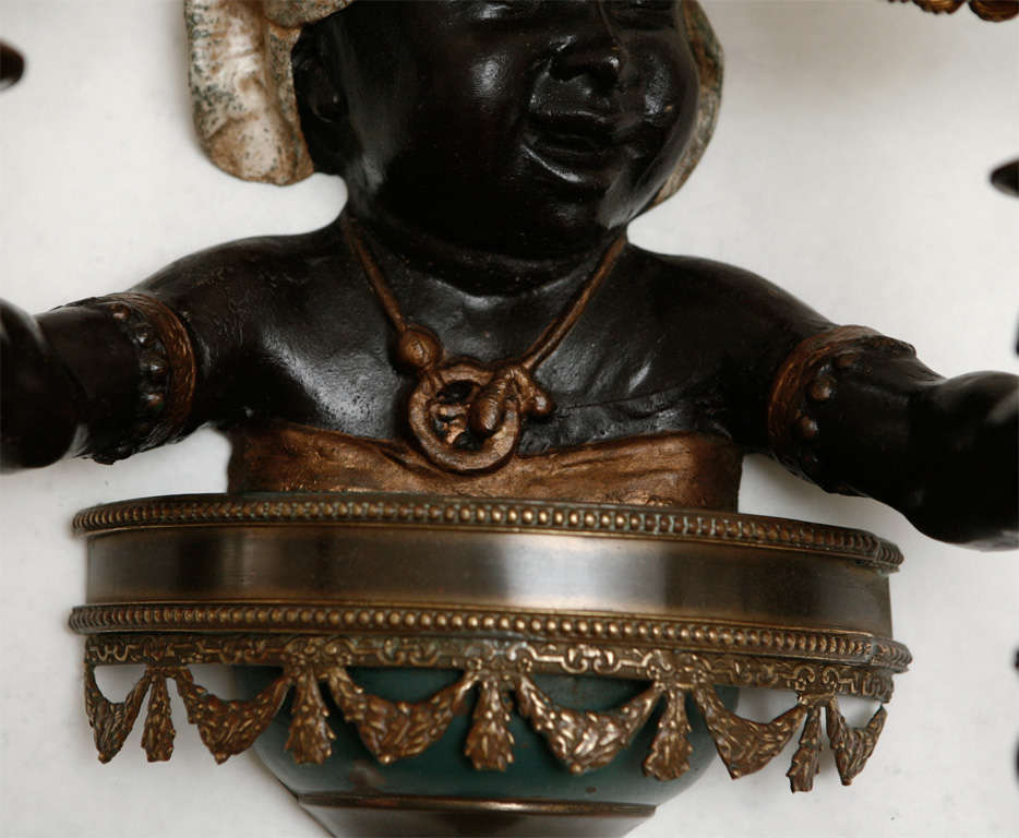 Blackamoor Wall Sconces : Pair of Cold Painted Bronze Blackamoor Wall Sconces For Sale at 1stdibs