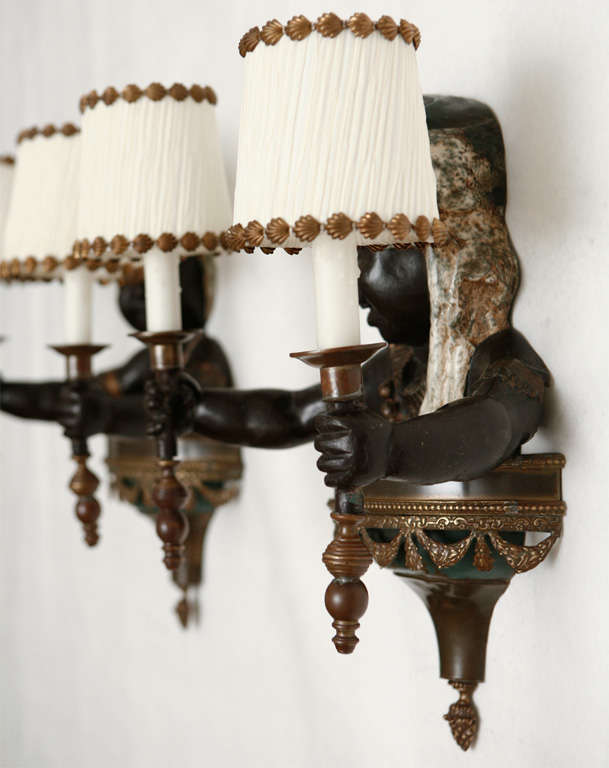 Blackamoor Wall Sconces : Pair of Cold Painted Bronze Blackamoor Wall Sconces at 1stdibs