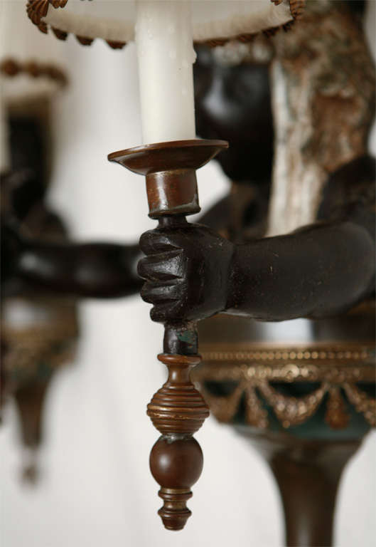 Pair of Cold Painted Bronze Blackamoor Wall Sconces For Sale at 1stdibs