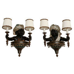 Pair of Cold Painted Bronze Blackamoor Wall Sconces