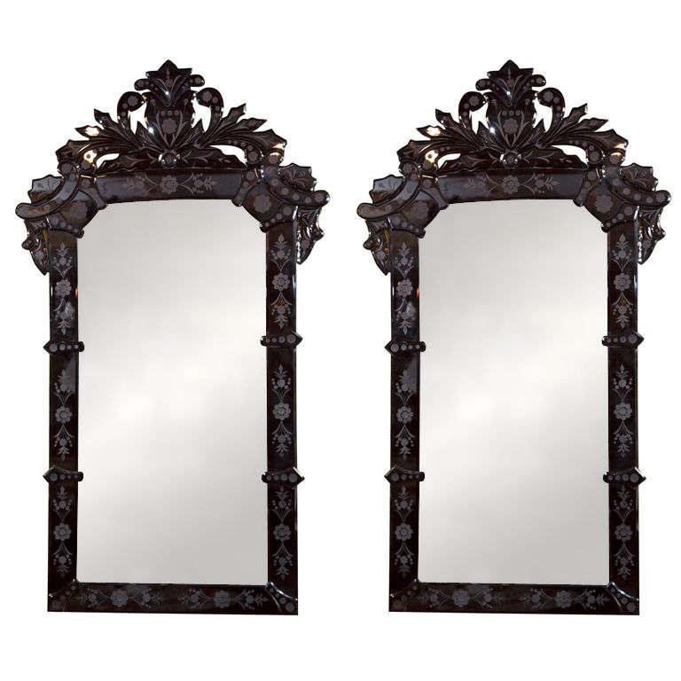 Pair of black venetian mirrors at 1stdibs for Black venetian mirror