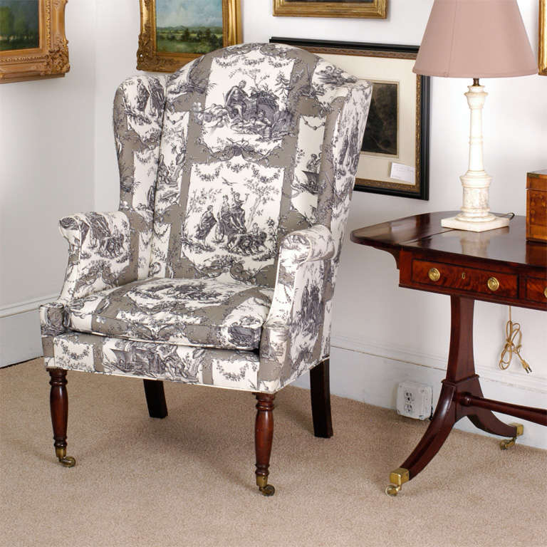 "This Sheraton wing chair is one of the best Federal wing chairs we've ever had, very similar to the chair listed as ""best"" on page 76 of Albert Sack's ""The New Fine Points of Furniture"" as well as #123 on page 171 of the"