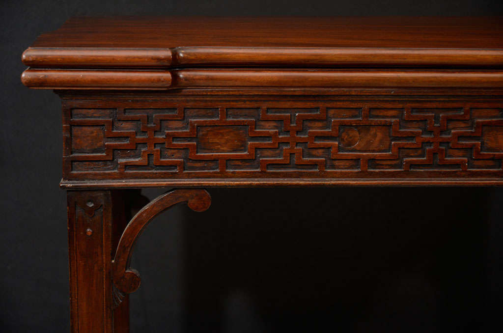 18th century chinese chippendale fold over card table for sale at