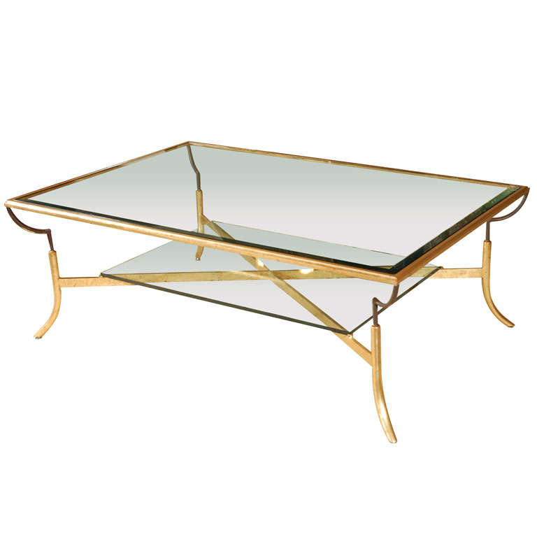 2 Tier Gold Leaf Coffee Table At 1stdibs