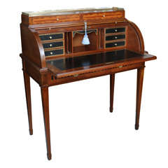 French Antique Louis XVI style Cylinder Desk/Marquetry