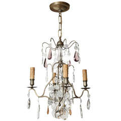 A 4 Light French Louis XVI Style Nickel Plated Chandelier