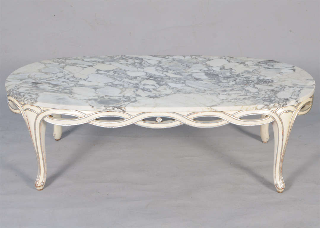 Mid Century Oval Coffee Table With Pierced Apron And Marble Top At 1stdibs