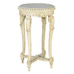 Carved Painted Pedestal Table with Round Mirror Top