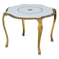 Spectacular Gilt Bronze Accent Table with Top of Marble, Lapis and Malachite