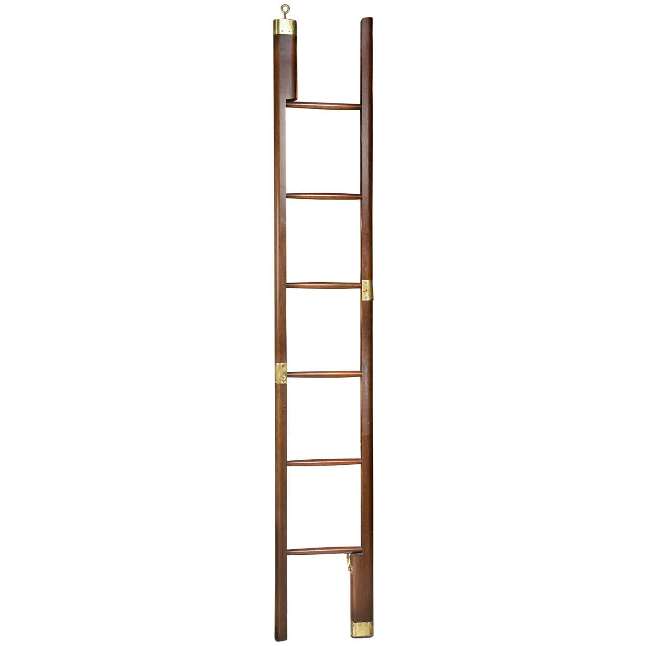 Edwardian Mahogany And Brass Library Pole Ladder At 1stdibs